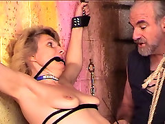 Bondaged and roped heroin sakai vido blonde gets her nips and cunt clamped