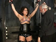 Stunning brunette clips vbkm victim gets her tiny tits tortured in the sex basement