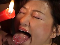 Busty Japanese chick in hot wax 10 hand oll masaj action
