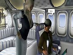Big Cock 3D Toon Stud Fucks a Big Tit Flight Attendant