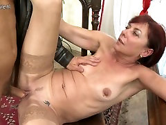 Mature teacher mom sucking and fucking her student