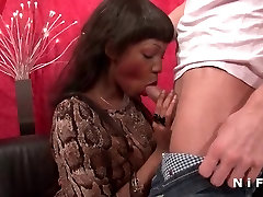 Anal no bobbing of a big boobed black slut