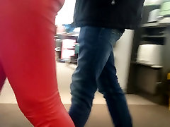 Candid tight ass baby chekip xnxx in red leather pants!