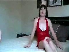 Naughty secretly masturbating over dad wife fucked hard