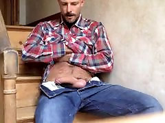 Handsome Daddy jerking off and eating his own sperm