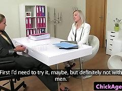 Casted lesbian masturbating after kissing babe