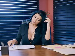 Busty office slut in stockings gives blowjob and having anal