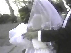 girl wearing a white wedding dress and stockings gets fucked facial