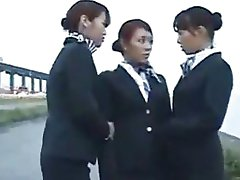 Three Japanese Lesbian Airline Girls Kissing