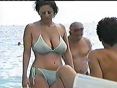 Natural Big Boobs in Public see through Bikini