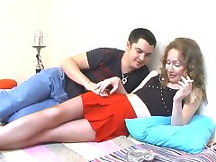 Kinky guy impatiently biting babes tights aching for doggystyle fucking