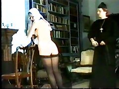Two pretty school girls spanked on their delightful bare bottoms by sexy prefect