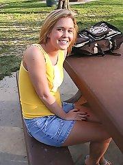 Blonde slides her pink bottoms up her shaved smooth camel toe