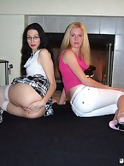 Sex crazed amateur lesbian babes Justina and Kerry playing with their petite twats