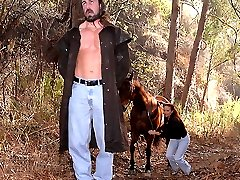 Super sexy big tits milf rides her horse to save a hanging man then gets her hot bush fucked...