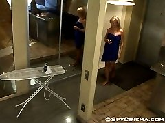 Hidden camera has caught an undressing girl