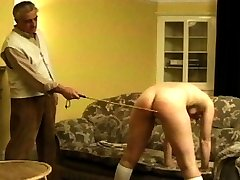 he can see right through her lie. She definitely deserves to be punished. So he pulls her over his knee and spanks her round jiggly ass with a heavy bare hand.