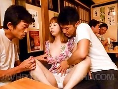 Minami Kitagawa Asian has shaved twat fucked with dildo in public