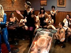 40 women. 2 birthdays. 1 piece of meat. Never before on ANY femdom site have you seen such a blatant form of male humiliation until now. It\'s true, The Divine are usually put together pretty well but, even they need to let their hair down and take a break from keeping those filthy boys in line.  It\'s like a frat party but with women and Vince is the lucky piece of meat at the butt of the joke. This is reality femdom at it\'s finest. Maitresse Madeline and Aiden Starr spend their birthday with 40 local ladies plucked off the streets of San Francisco and one lucky male stripper. This is as real as it gets and the majority of these girls have NEVER seen or done ANYTHING like this before. But, Madeline creates this certain energy in the room and the ladies transform and can\'t control themselves. They ALL become hungry, ravenous femdoms! EVERYONE participates giving Vince Ferelli a run for his money with corporal punishment, CBT, CFNM, foot worship and the biggest strap-on ass fucking gang bang you\'ve seen in femdom. Madeline stuffs this huge hunk of man meat in a clear, restrictive box with only his useful bits left out while the ladies take turns smothering his face with their asses. He\'s left hungry, humiliated and covered in female nectar. Lucky fucking bastard.