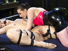 Tough electroslut Dylan Ryan is in a predicament inside Chanel Prestons lesbian electro-dungeon!...