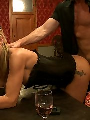 Slave applicant Kristine Kahill is tied to the cross and offered up to the Brunch guests.Slave Flogging, Pussy Eating, Crawling slaves, Fucking Machines, Group Sex, Ass Spanking, Deep Throat Cock Shucking, Pussy Fucking, Suspension Rope Bondage, Nipple Biting, Clit Licking, Hot Blonde Getting Fucked