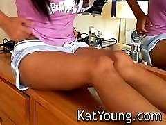 Kat Young playing with her self infront of mirror