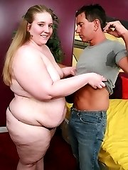 Sexy young bbw Jessie showing off her huge folds of fat and takes doggy style banging in her...