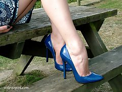 Horny Carrie has some nice fun outdoors while wearing her high heels