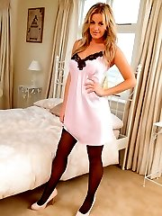 Cute blonde Amy in satin chemise and stockings