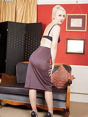 Kiana stripping to a pretty set of french, navy lingerie, vintage stockings and custom made peep...