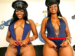 Check out these 2 smokin big booty babes get fucked on film by the fucking police