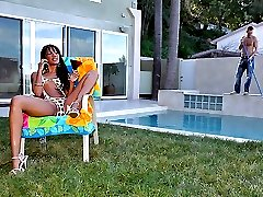 Check out the pool guy get his cock sucked by hot ebony bikini babe kapri then take his dong in...