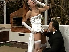 Stunning tranny bride reveals her stiff tool after a swell wedding ceremony