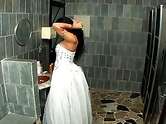 Sex-craving shemale bride savoring ass-fucking entertainment right in WC