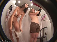 Fitting room clips of two unsuspecting babes in bikinis