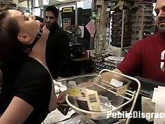 Lilla Kat is bound and helpless in the hardware store while a group of men fuck her with dildos...