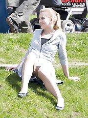 Cute upskirt girls relax in the park