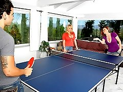 2 hot ass fucking big tits babes share a mega dong in these hot ping pong playing fucking 3 some...