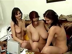 Three big tit sluts eat each other out