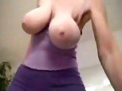Karine purple top big huge bouncing saggy boobs