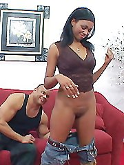 Long haired ebony babe is fucked by a big black stud