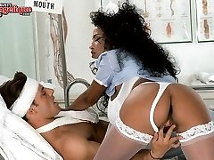 Busty nurse takes care of her patient