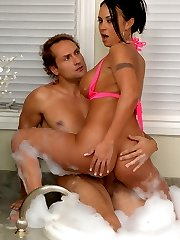 Hot big booty big tits mariah masterbates in the tub then gets her juicy box rocked in this hot...