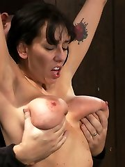 Alia Janine and her innate 34FF monster boobage is back.  We love hot Cougar's all stretched out and helpless, don't you? The game is ordinary, we whip you until you say