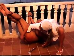 Femdom spanking and dildoing outdoor