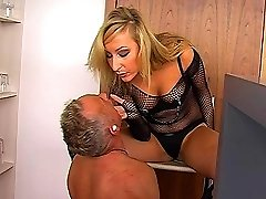 Blond bombshell Roxy humiliates slave in