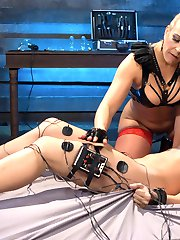 Cute electroslut Cassidy Klein returns to get sexed and shocked by bombshell domme Angel Allwood. Watch Cassidy squeal in fear and joy from the violet wand, the touch plate, e-stim sticky pads, a vibrating electric dildo, face sitting, ass licking and multiple lesbian orgasms!