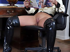 Naughty Schoolboy is caught wanking and so is sent to Mistress Carly's study to receive his punishment! She orders him to pull his trousers down & bend over the desk to receive a spanking! Then she orders him to spunk on her pussy after seeing his dirty girly mag