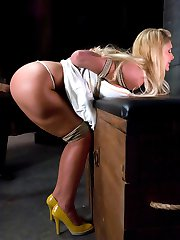 Phoenix Marie is a drop dead gorgeous blonde with big tits and a great ass.  She can take a lot of pain and endures tight rope bondage.  Steven does not go easy on her.  After hard punishment, she is more than happy to please by sucking cock and getting fucked hard.  Thank you Phoenix Marie for this incredible display of submission!