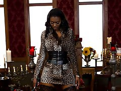 Divine Bitch: Goddess Nyomi Banxxx Slave: Skyeboy Skyeboy AKA 12 was the lucky sub chosen by the members at the live slaveboy tryouts  to train with the Divine Bitches. Nyomi Banxxx is a perfect match for this talkative sub and she uses humiliation as a tool to put him in his place. He's spanked and paddled while being made to wear woman's panties. His inadequate dick is used to amuse Nyomi by being tied back between his legs and laughed at. He then endures CBT while hung in a fuck sling and has an enormous black strap-on cock shoved deep in his ass. Skyeboy is a pain slut and an anal whore so Nyomi makes sure to put him back in his panties and give him small penis humiliation while he's led around on a leash made to lick her big beautiful ass and pussy to orgasm.  Maitresse's Evaluation Objectives  break down ego humiliation tactics  anal abilities large insertions  worship/devotion giving pleasure only for the woman   Closing assessment  too mouthy should remain gagged sloppy needs better posture playful sub exceptional anal abilities useless cock